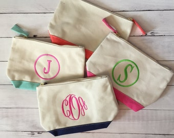 Personalized/Monogrammed Canvas Cosmetic Bag