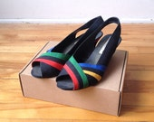 Vintage red yellow green black shoe