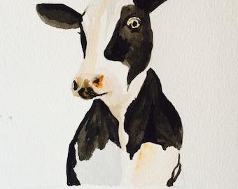 Water colour  ... Black/White Cow