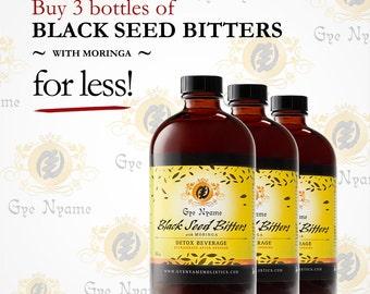 3 Bottles of 16 oz. BLACK SEED BITTERS with Moringa Detox Beverage for less!