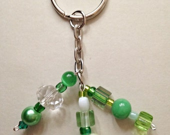 Green beaded keychain / bag charms / purse charm / keyring charm / keychain charm