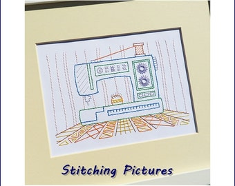 Sewing machine stitching on card embroidery paper pricking pattern for greetings card and framed wall art picture making. SP-2