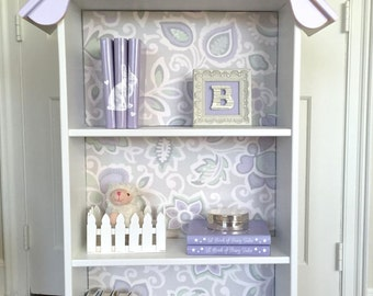 Children's doll house bookcase, Custom children's dollhouse bookcase, Nursery bookcase, Girl's bookcase, Lavender bookshelf, White Bookcase