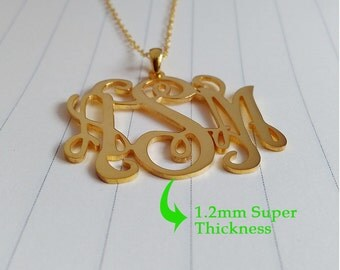 Initial Monogram Necklace,Personalized Monogram Necklace,1.5 inch Gold Monogram Necklace,Monogrammed Gifts,Custom Name Necklace