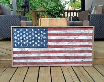Rustic barnwood American Flag