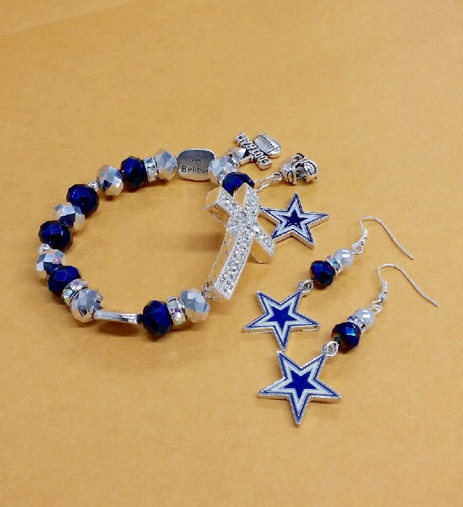 dallas cowboys cross charm bracelet and earrings by. Black Bedroom Furniture Sets. Home Design Ideas