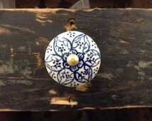 Hand Painted Ceramic Knobs, Cream and Blue Flowers, Mediterranean, new old stock,