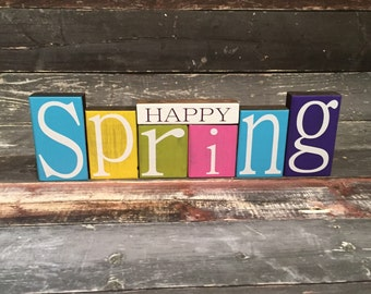 Spring Theme Home Decor Wood Blocks - Happy Spring - {Bright Colors, Easter, Spring Gifts}