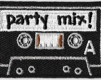 Party Mix Cassette Tape Embroidered Patch Iron On Applique Retro 70s 80s Music