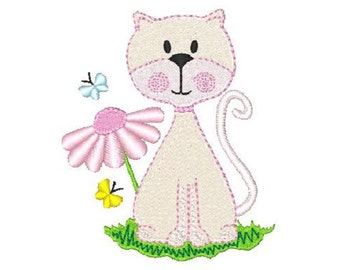 Instant Download Pretty Cat with Flower and Butterflies, Kitten Machine Embroidery Design No: JG00021-4