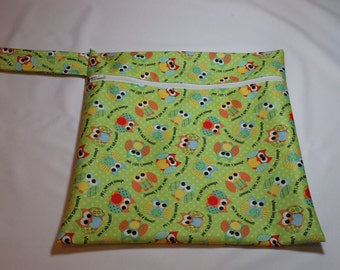 Green Owls Wet Bag
