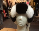 Dyed Black & White Headband made entirely out of Fox (Real Fur) One SIZE FITS ALL 24 x 3 inches