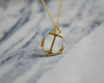 Gold or Silver Anchor Necklace | Nautical Hook Jewellery | Dainty Charm Necklace
