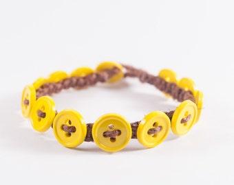 Neon Button Bracelet (Yellow)