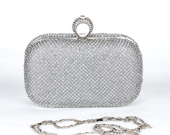 Silver Crystal Clutch, Vintage Bridal Clutch with Crystal Accent, Bridal Evening Bag39 ,Prom Clutch, Formal Party Bag39