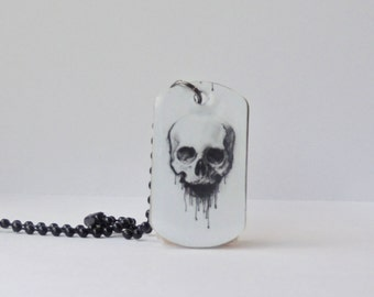 Skull necklace- skull dog tag necklace - skull jewelry - handmade jewelry