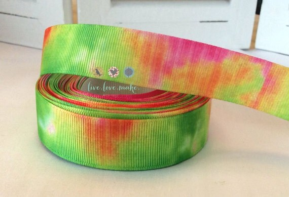 neon tie dye 7 8 inch grosgrain ribbon by the by livelovemake2