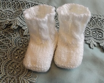 White newborn slippers for baptism