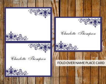 Damask place card etsy wedding place cards ornate blue download printable microsoft word template diy blue wedding pronofoot35fo Gallery
