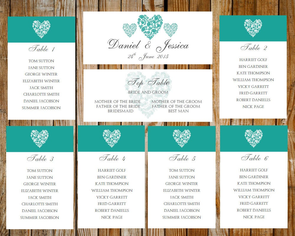 Wedding seating chart trio of hearts tealdownload printable for Table design on word