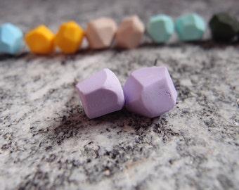 Nugget earrings, lobe earrings, geometric earrings, fimo jewelry, lilac earrings, stud earrings, small nugget earrings