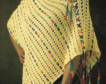 Ribbon Yarn Cape Poncho Knitting Pattern Womens Tie Up Laced Ribbon Yarn Poncho Cape Knitting Pattern PDF  Instant Download