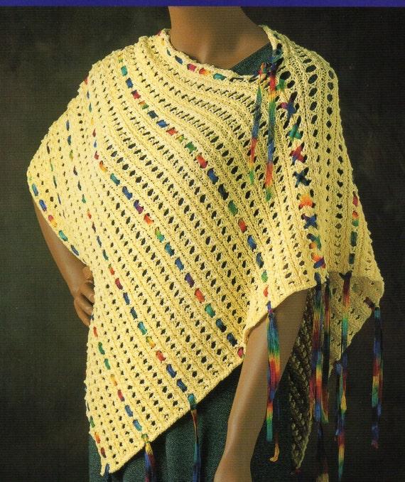 Knitting Patterns For Ribbon Yarn : Ribbon Yarn Cape Poncho Knitting Pattern Womens Tie Up Laced