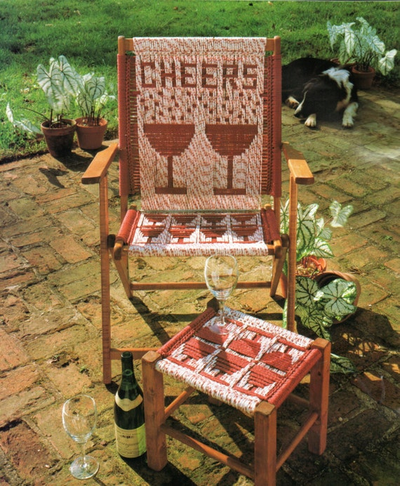 Vintage Macrame Cording Lawn Chair Folding Chair And Footstool
