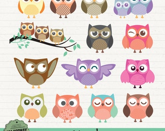 14 colorful OWLS, Digital clipart pack, ornaments, animals,scrapbooking, PNG. transparent background, instant download 347