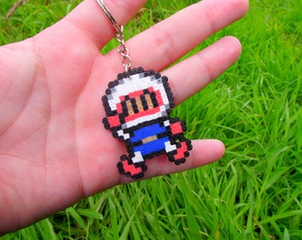 Sprite / keychain / Straps / Plug / Magnet •  Bomberman  made with Hama Mini • Pixel/art • Hama Beads