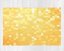Area Rug, Golden Pixels Rug, Golden Rug, Orange Yellow Rug, Children's Room Decor, Colorful Rug, Nursery Decor, Nursery Rug,