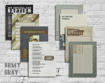 Army Gray Boy LDS Baptism Printable Memory Book - Instant Download