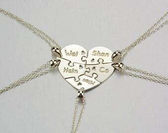 5 pieces puzzle Necklace,Heart Puzzle Necklace,Family Necklace,Heart Pendant Necklace,Name Necklace,Engraved Necklace,Memorial Necklace N019
