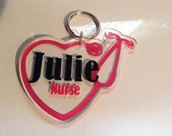 Personalized nurse keychain