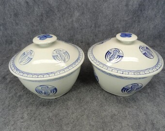 Set of 2 Stoneware Bowls with Lid and Adorned with Cobalt Blue Birds