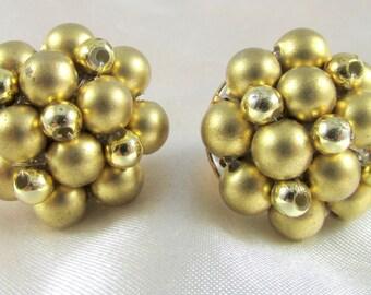 Vintage Gold Beaded Cluster Pierced Earrings