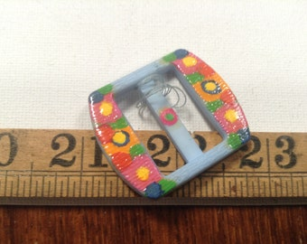 Pop colour 1970's hand painted vintage buckle