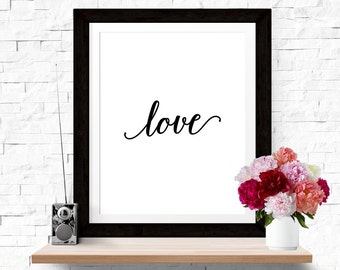 30% OFF SALE Typographic Print 'Love' Wall Art Love Art I love you Quote Home Poster Romantic Print Wall Decor Black White Love Poster Quote