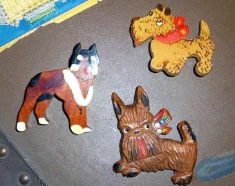Three Vintage Wood & Composition Dog Pins c. 1940s