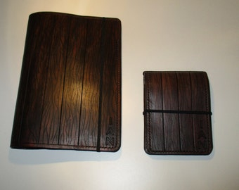 Personalized Leather  Journal and Pocket Book Cover Gift Set. Custom