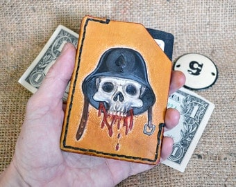 Handmade simple leather wallet, slim leather wallet, minimalist leather wallet thin leather wallet with skull design