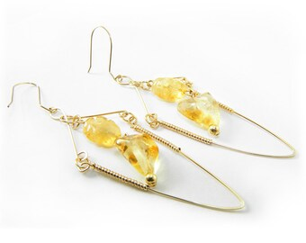 Citrine Crystal Earrings, Gold Wire Wrapped, Gemstone Drop Earrings, Gold Statement Earrings, Yellow Citrine Earrings, Gift for Her