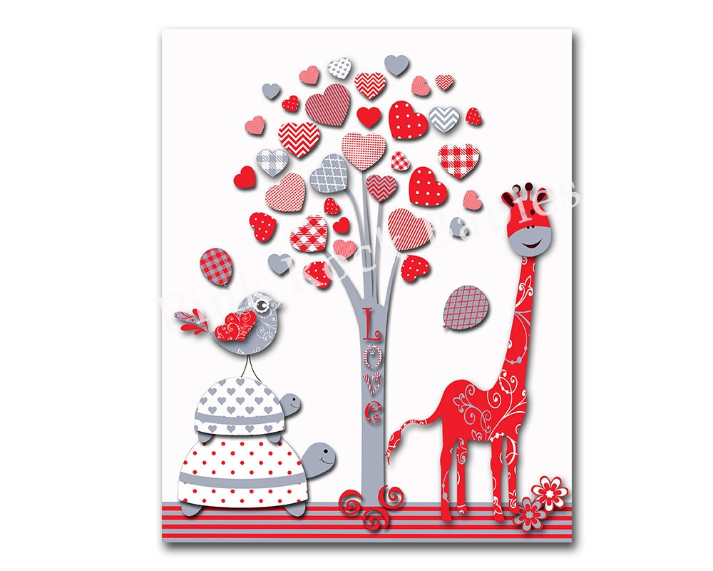 Red grey nursery wall art baby girl wall decor kids room for Baby girl wall decoration