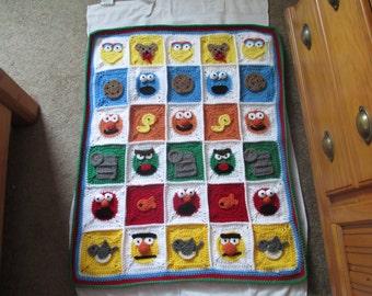Crocheted Inspired Sesame Street Blanket