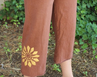 Stella Capri Pants.  Hemp, Organic Cotton, Hand Painted, Hand Dyed