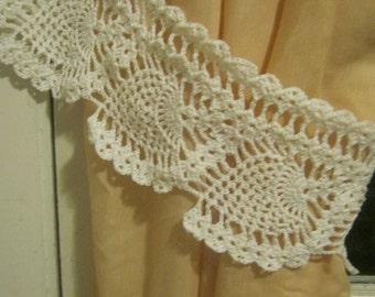 Hand Made Crochet Pineapple Curtain Tie Backs Set