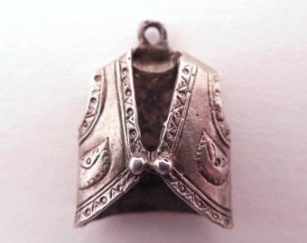 Vintage Cowboy Vest Sterling Silver Bracelet Charm