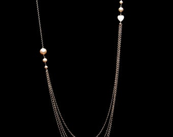 Long Multistrand Necklace with Pearls Sterling Silver