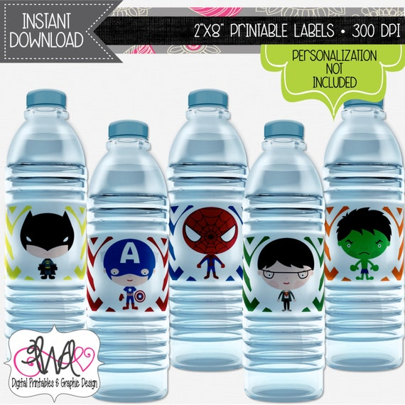 Neon Water Bottles Water Bottle Labels Party