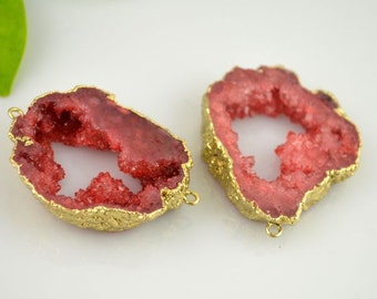 Druzy Geode Connector Agate Slice Gemstone Crystal Quartz 24k Gold Plated Edge Druzy Agate, Drusy Pendant in Red Color Gemstone Jewelry 3pcs